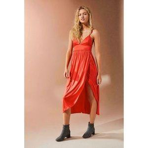 UO Luciana Tulip Midi Dress Sz: Large L Red Wrap